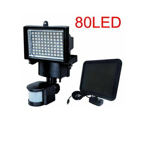 80 led solar powered motion sensor outdoor light security 900 lumen
