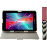 """LINSAY 7"""" Quad Core Android 6.0 Tablet Bundle with Pink Lines Leather Case Dual Cameras"""
