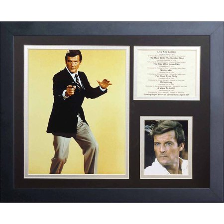 Legends Never Die  James Bond Roger Moore  Framed Photo Collage  11  X 14