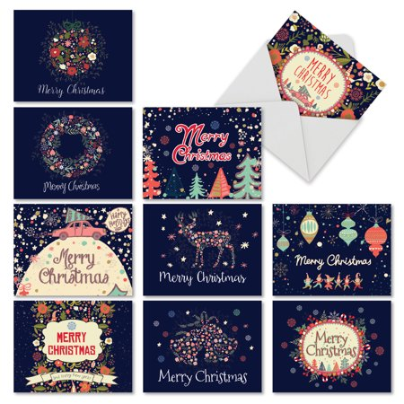 'M2936XSB FESTIVE FLORALS' 10 Assorted Merry Christmas Note Cards Featuring Watercolor Flower Images Combined with Holiday Sayings, with Envelopes by The Best Card Company