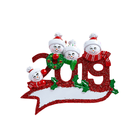 2019 Snowman Family of 4 Personalized Christmas Ornament ()
