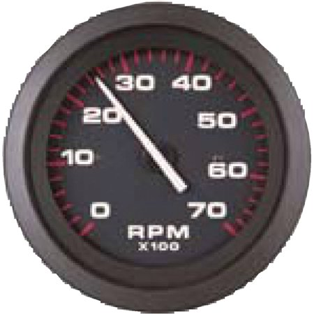 Tachometer Black Dial (Sierra 58935P Amega Signature Series Black Evinrude/Johnson System Check 0-7,000 RPM Dial Range Tachometer Gauge with Outboard Alternator or Coil Sender Code)
