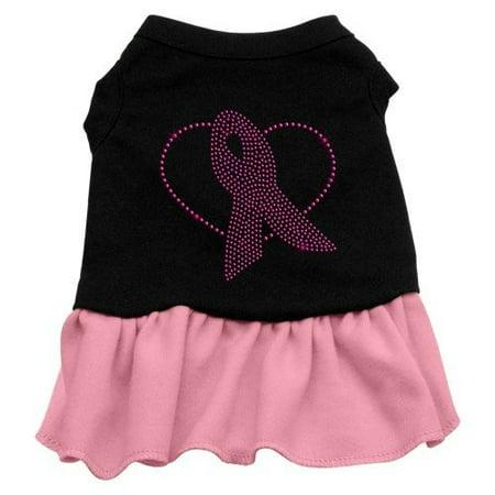 Mirage Pet Products Pink Ribbon Rhinestone 18-Inch Pet Dress, XX-Large, Black with (Mirage Dress)
