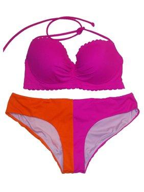 a67c8e604056 Product Image Victoria's Secret 2PC Swimsuit Bikini Set Pink/Orange Halter  Cheeky