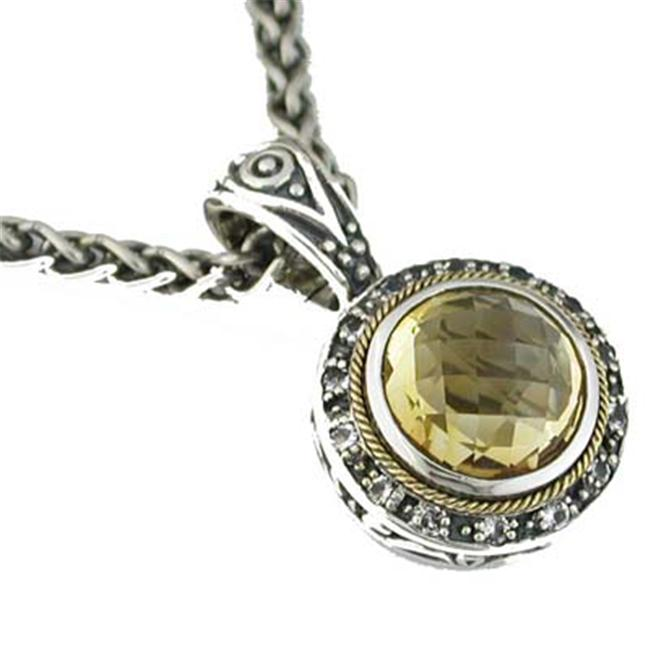 925 Sterling Silver 14K Gold Citrine and White Topaz Necklace