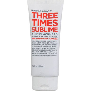 Formula 10.0.6 - Three Times Sublime 3-In-1 Blackhead Wash + Scrub + Mask, 3.4 (Washing Your Face 3 Times A Day)