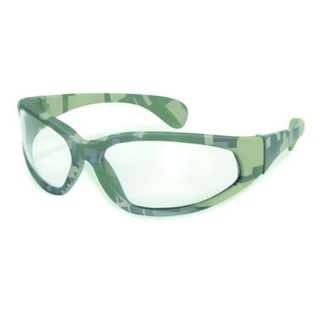 Global Vision Digital Camo Safety Glasses w Clear Lenses