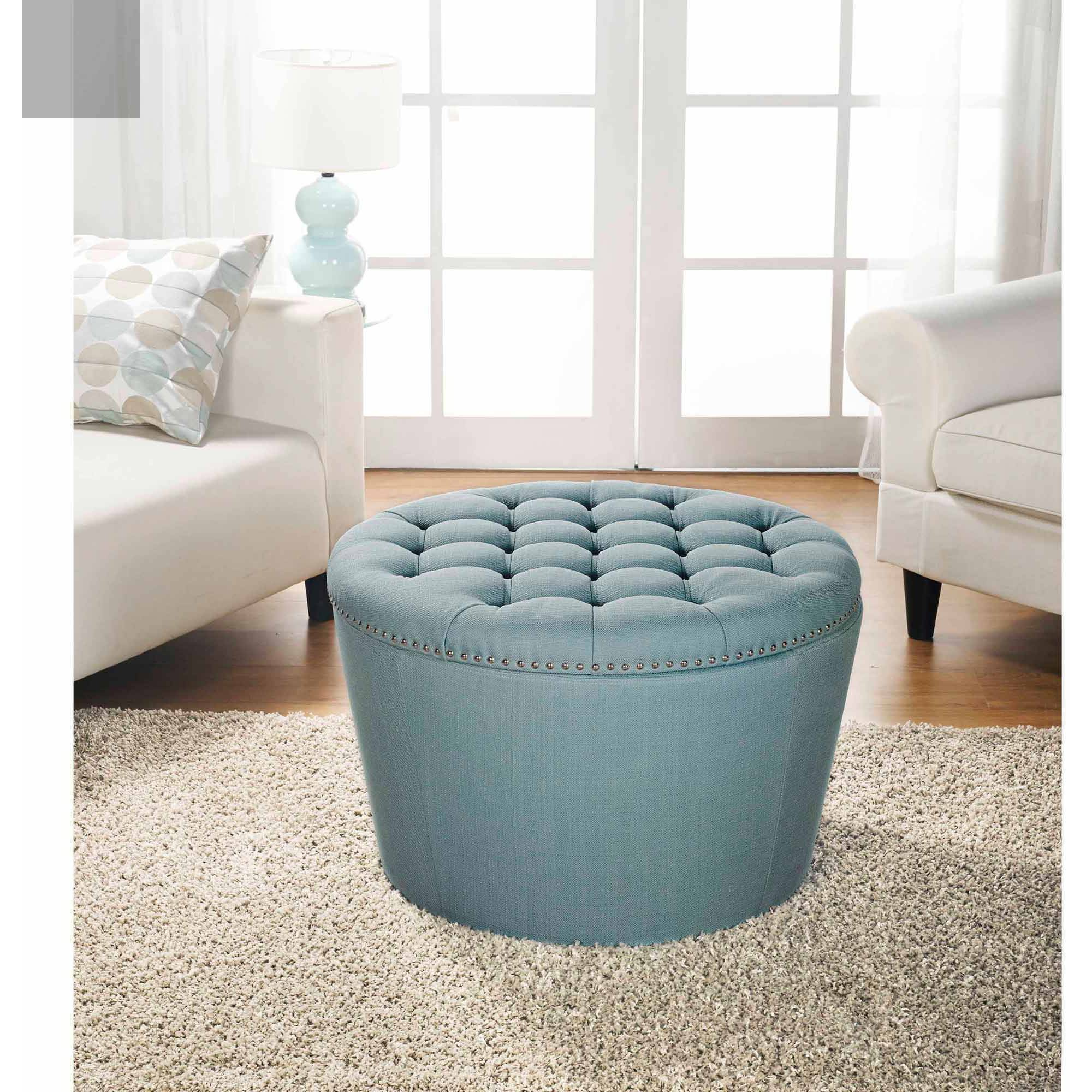 Better Homes And Gardens Round Tufted Storage Ottoman With Nailheads Teal Walmart Com Walmart Com