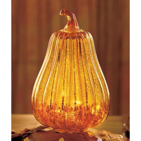 Antiqued Glass Lighted Squash  Details By Ltd Commodities