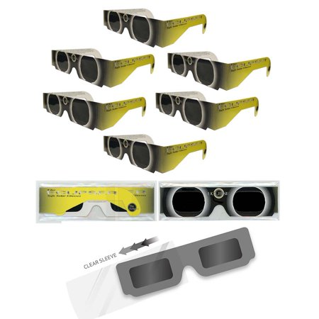Solar Eclipse Glasses - ISO Certified, CE Approved- 6 Pairs Sleeved - YELLOW SUN - Solar