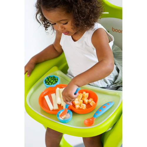 Boon - Groovy + Modware Interlocking Plate and Bowl Set with Utensils, Blue/Orange, BPA-Free