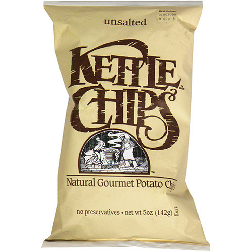 Kettle Brand Unsalted Potato Chips, 5 oz (Pack of 15)