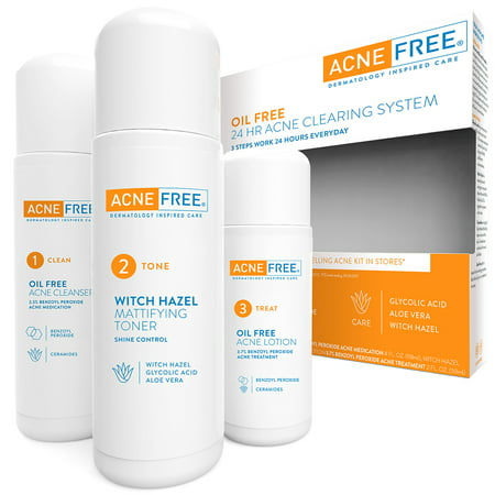 AcneFree Oil Free 24 HR Acne Treatment Kit, 3 Step Acne Clearing
