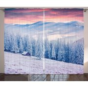 Winter Curtains 2 Panels Set, Calm Scenic Sunrise Scenery in the Carpathian Mountains Countryside Environment, Window Drapes for Living Room Bedroom, 108W X 90L Inches, Pink Blue White, by Ambesonne