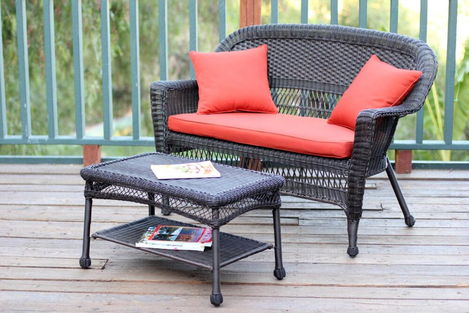 2-Piece Espresso Resin Wicker Patio Loveseat & Coffee Table Set Red-Orange Cushion by Resin Furniture