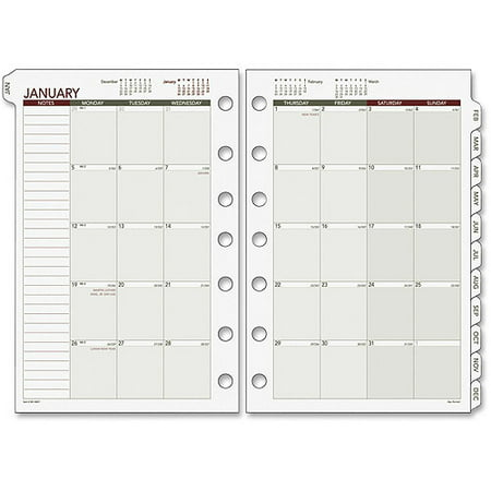 Day Runner Loose-leaf Monthly Planner Refills, 1 Pack