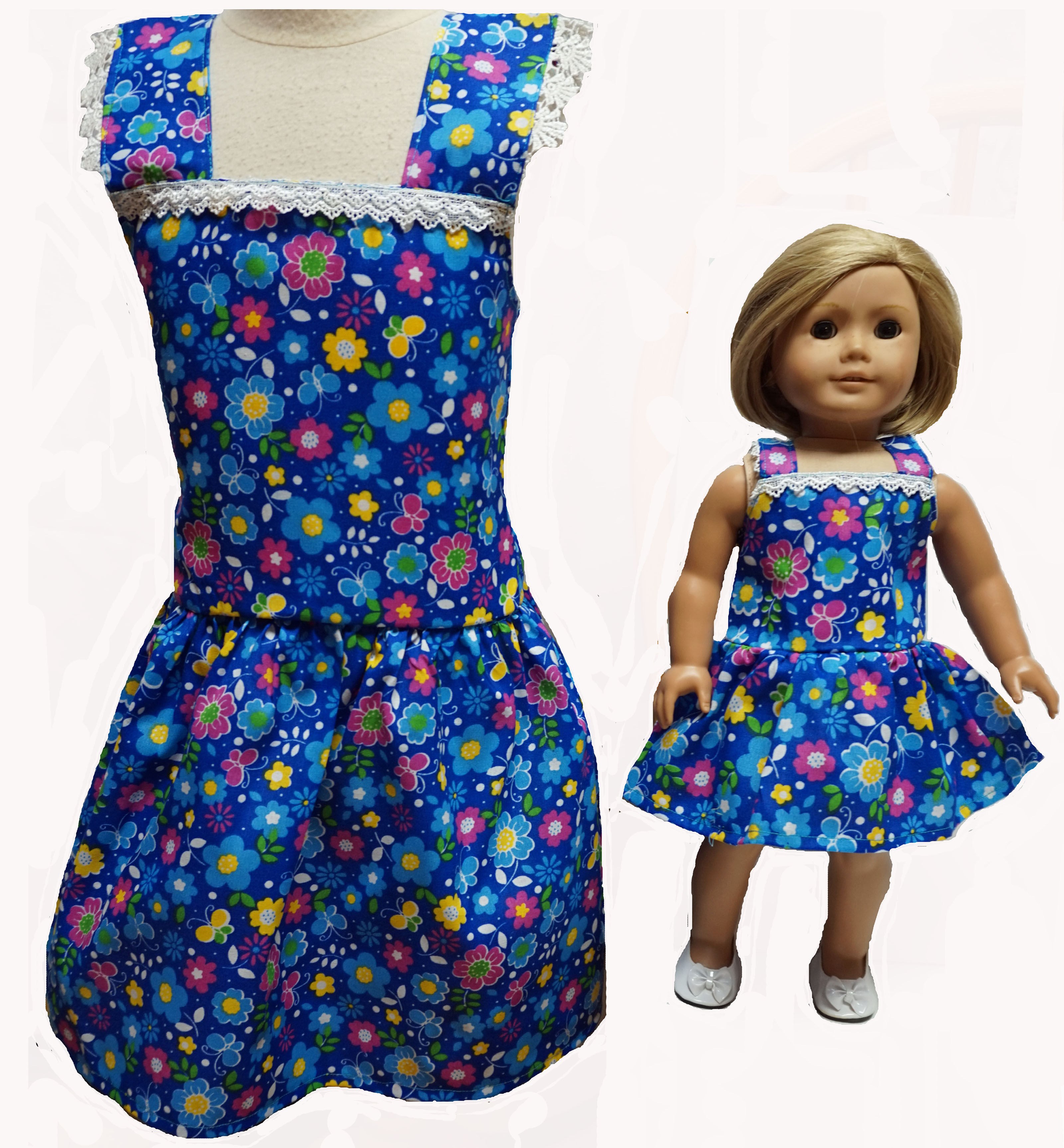 Size 5 Matching Girl And Doll Flower And Butterfly Dresses