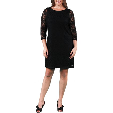 Womens Plus Size Black Lace Dress Walmart