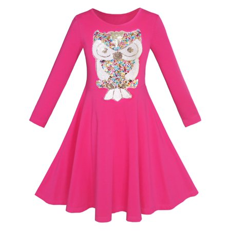 Girls Dress Owl Ice Cream Butterfly Sequin Everyday Dress 7