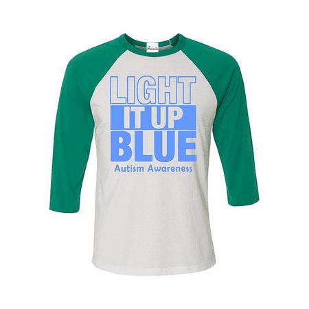 Light It Up Blue Baseball Shirt Autism Awareness Raglan Shirt](Light Up Tee Shirt)
