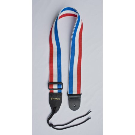 - Guitar Strap RED WHITE BLUE STRIPES Nylon Solid Leather Ends Fits All Acoustic & Electric Made In USA Since 1978