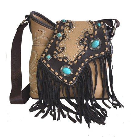 Montana West Ladies Cossbody Bag Purse Turquoise Rhinestones Leather Fringe Tan