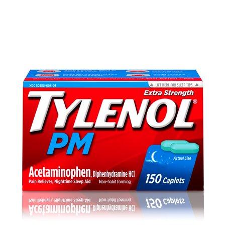 - Tylenol PM Extra Strength Pain Reliever & Sleep Aid Caplets, 150 ct