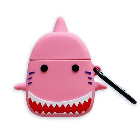 Fancyleo Cute Cartoon Shark Silicone Airpods Case Cover With Hook Case For Apple Airpods 1/2 Charging Case Protective Cover