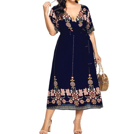 Plus Size Dress for Womens Boho Bohemia Floral Print Long Maxi Dress V Neck  Party Evening Summer Beach Split Sundress