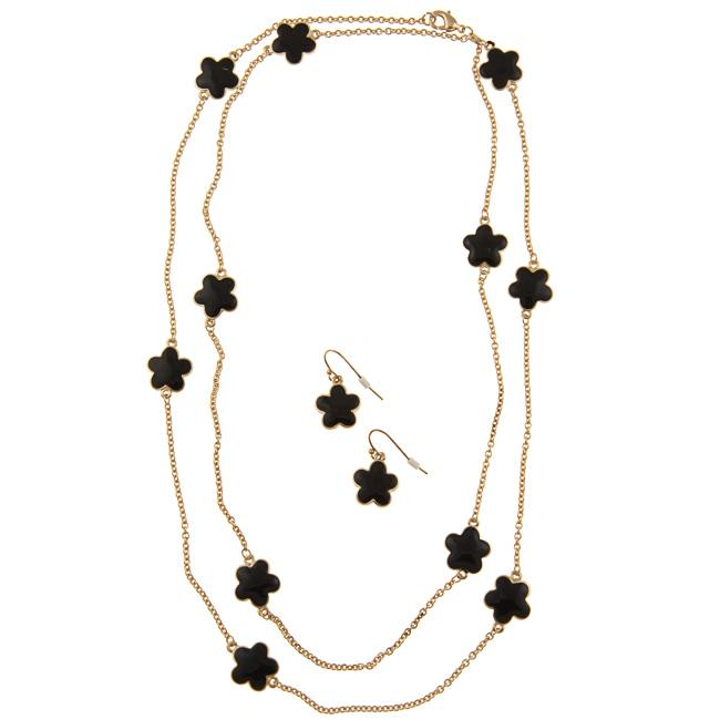 Zirconmania 610S-256BK-42G Goldtone Black Enamel Daisy Necklace and Earring Set