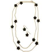 Zirconmania 610S-256BK-42G Goldtone Black Enamel Daisy Necklace and Earring Set