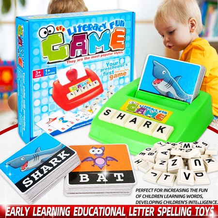 Educational Games Com (26 English Matching Letter Game Spelling Words Toy Early Learning Educational Toy for 3 year old Toddlers Kids and Adults,Interactive Parent-Kids Desk Game)