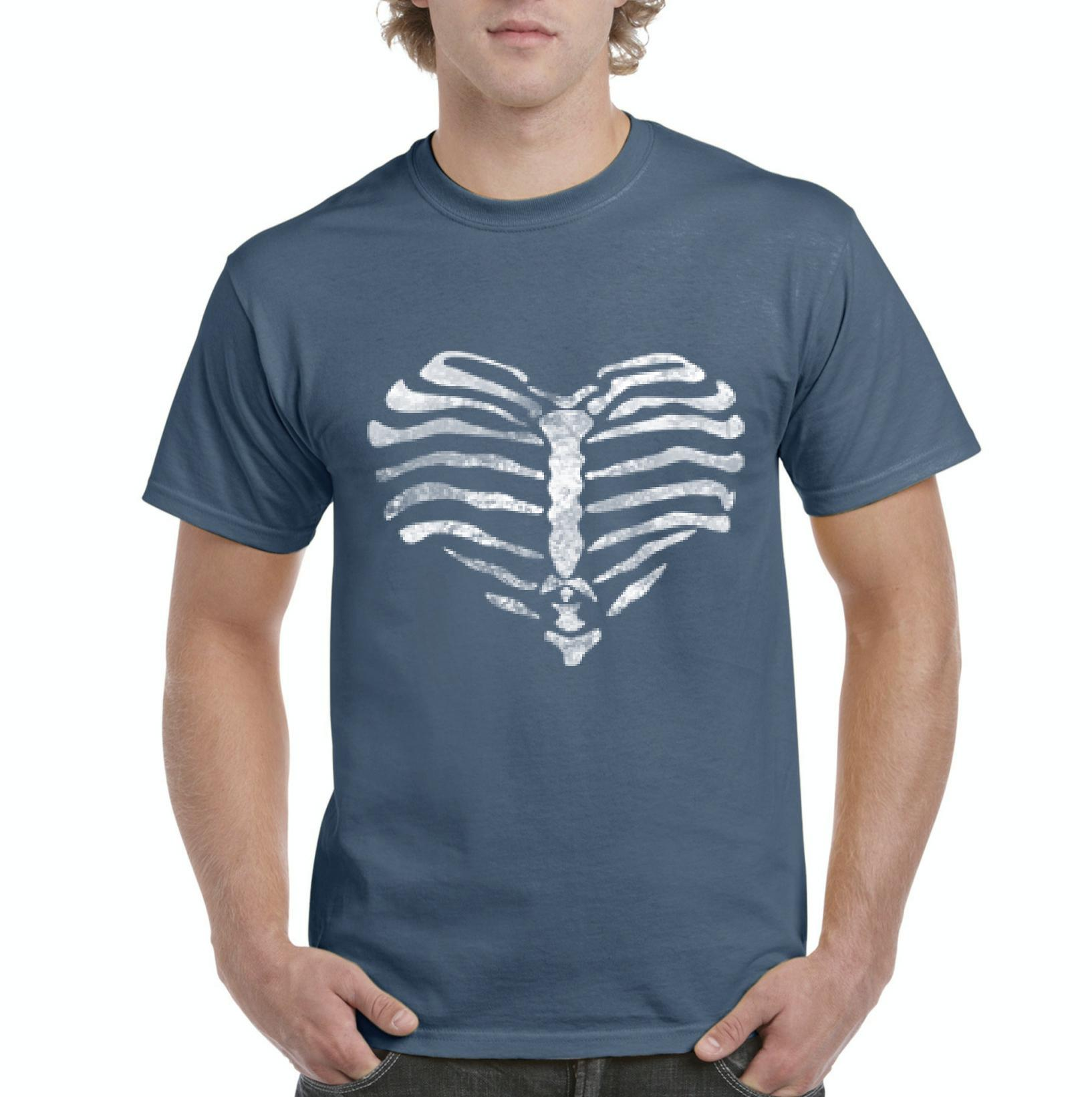 J_H_I Heart Made of Ribs Halloween Party Costume Match with Masks Humor Gift Mens Shirts