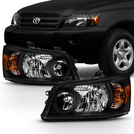 Fits 2004 2005 2006 Toyota Highlander Driver+Passenger Both Side Black Headlight (Toyota 4runner Driver Side Headlight)