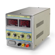 DC Power Supply Variable 30V 5A - Precision Adjustable 110V/220V Regulated Switching Circuit Digital Display Work Bench Power Supply with Alligator Clip AC Cable Lab Grade Equipment