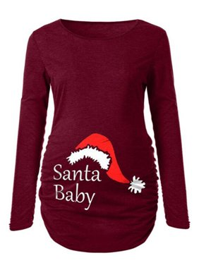 JTOPPER Maternity Santa Baby Print T-Shirt Tunic Top Christmas Side Ruching Blouse