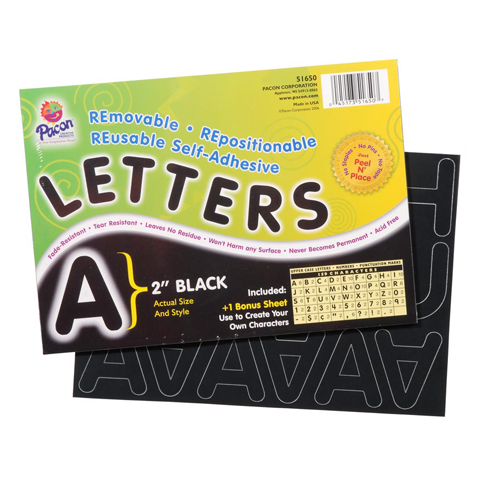Pacon Self-Adhesive Letters - Black - 159 characters