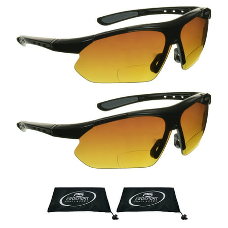 proSPORT 2 Pairs of Bifocal Reading Sunglasses for Mens & Womens. HD Vision with Semi Rimless Wraparound Frame for Cycling, Running, Fishing, Golf and (Womens Running Glasses)