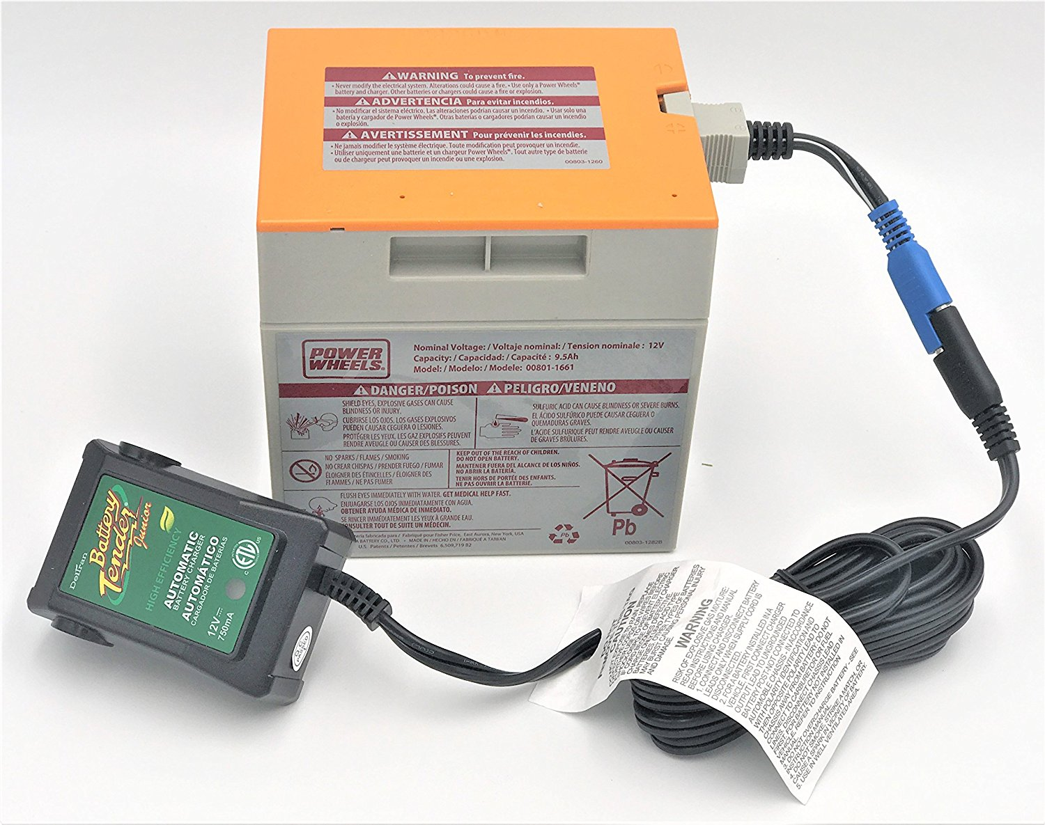 power wheels orange 12 volt battery 00801 1661 and automatic rh walmart com Power Wheels Battery Charger power wheels 12v battery harness