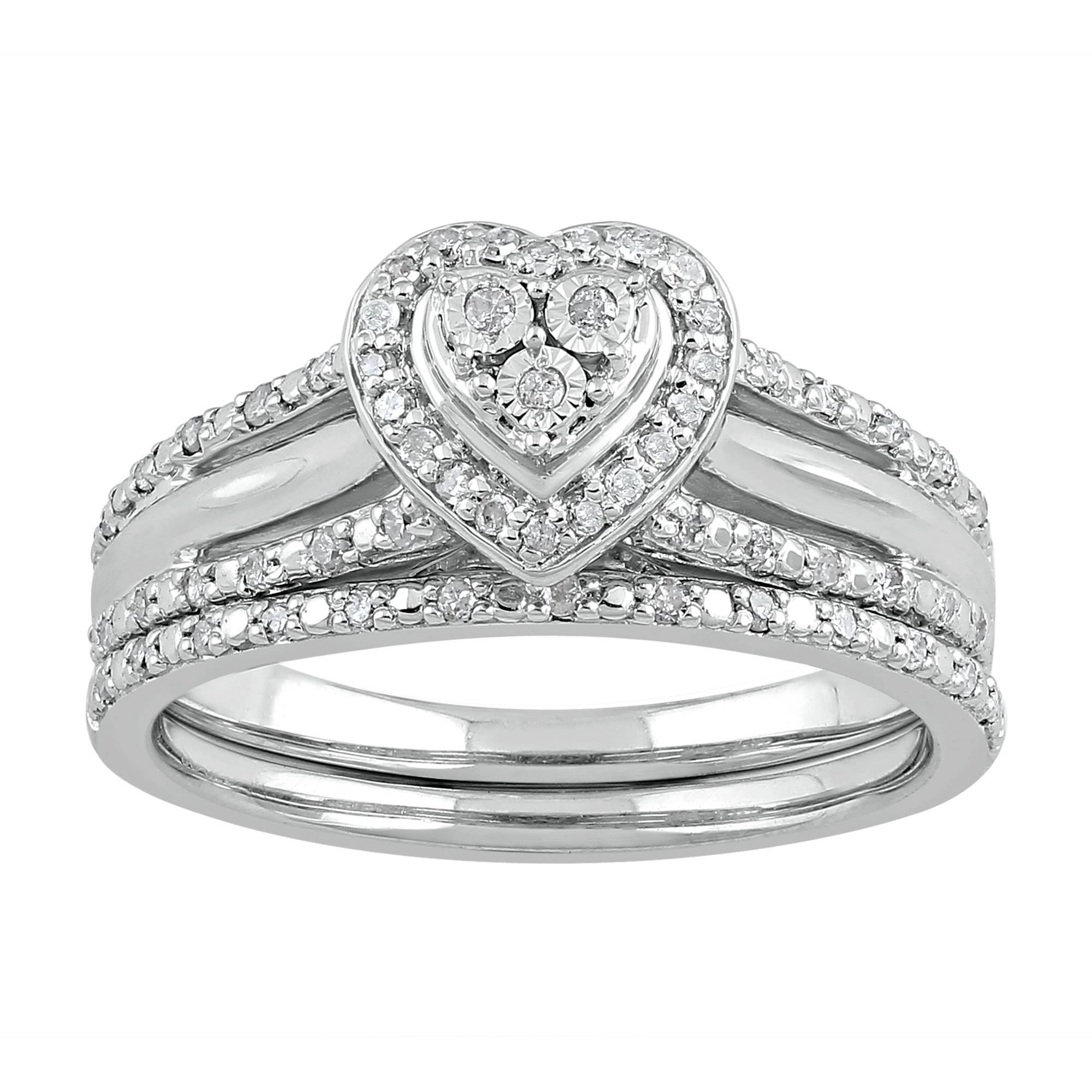 Forever Bride 1 4 Carat T W Heart Sterling Silver Bridal Set