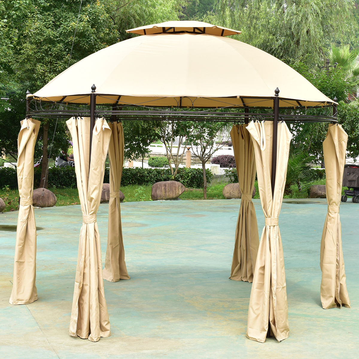 Costway 10ft Round Outdoor Gazebo Canopy Shelter Awning Tent Patio Garden by Costway