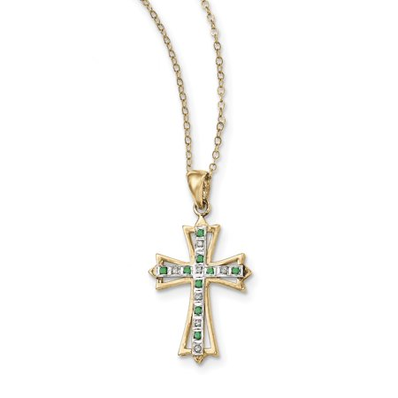 925 Sterling Silver & -plated Dia. & Emerald 18in Cross Necklace