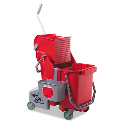Side-press Restroom Mop Bucket Combo, 8gal, Plastic, Red UNGCOMBR