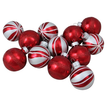 Northlight Red and White Swirl Decorated Glass Ball Christmas Ornaments - Set of 12
