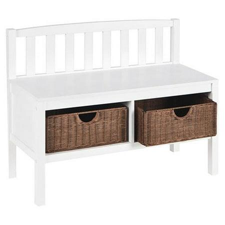 White Bench With Rattan Storage Baskets