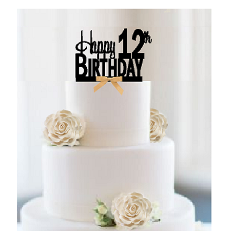 Birthday Decoration Items (Item#012CTGR - Happy 12th Birthday Elegant Cake Decoration Topper with Gold)