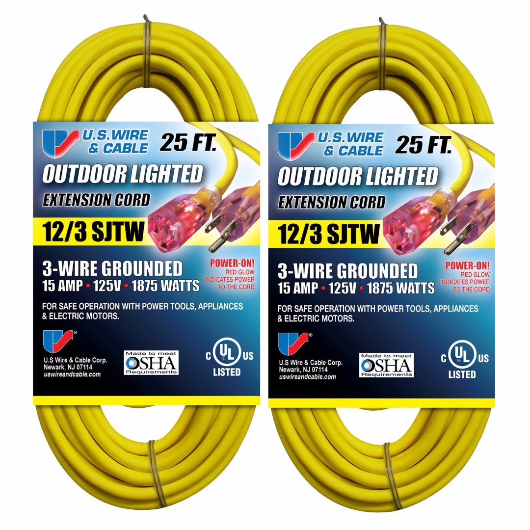 1 Foot Yellow Set of 2 Basics 12//3 Heavy Duty SJTW Lighted Extension Cord