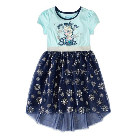 Disney Frozen Girls' Elsa Glitter Graphic Short Sleeve Dress with Foil Print Mesh
