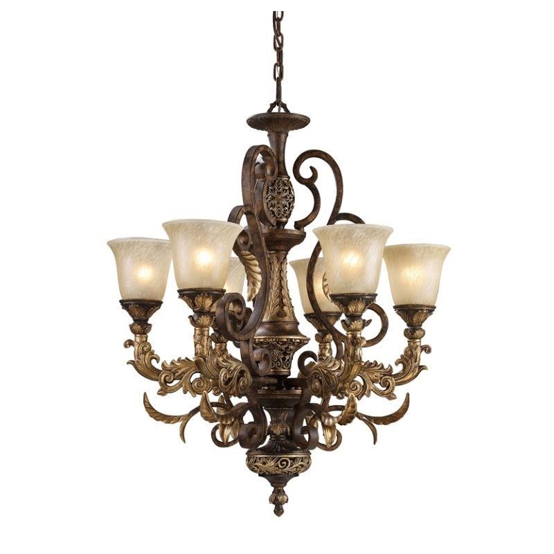 Elk Lighting Regency 6 Light LED Chandelier in Burnt Bronze