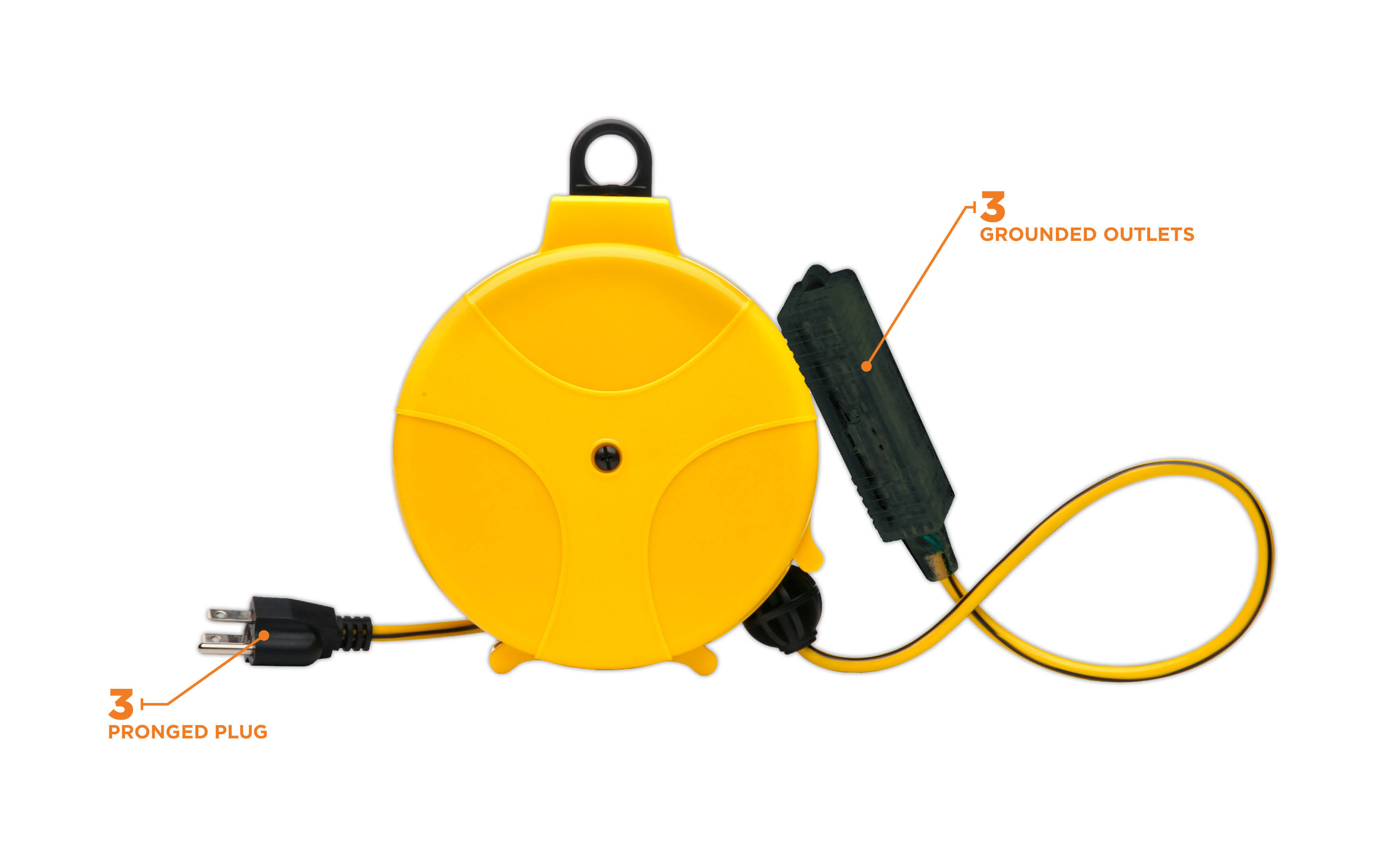 Retractable Extension Cord Reel >> Designers Edge E 315 20 Foot Yellow Retractable Extension Cord Reel